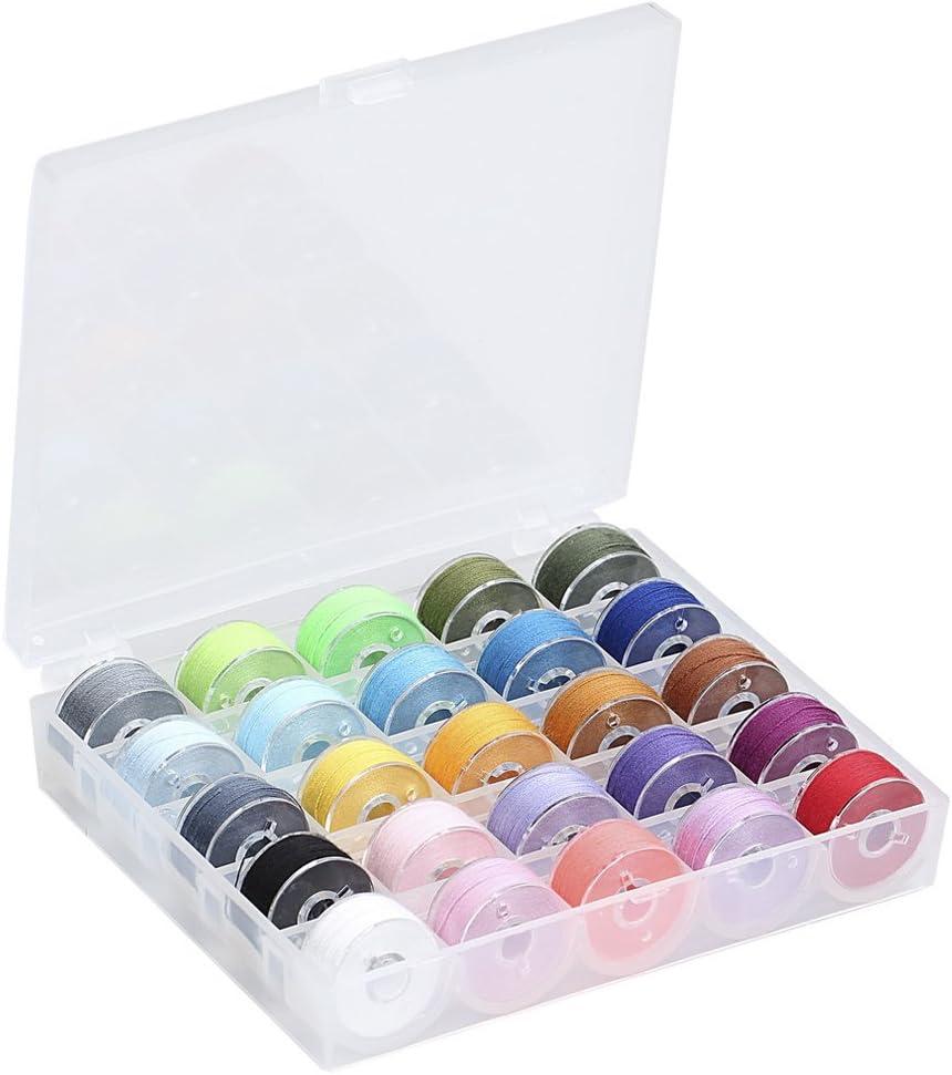 wowot 25 unidades varios colores hilo bobinas con bobina caja, 2 cm de diámetro, puntada caso organizador con hilo de coser para Brother/Babylock/Janome/Kenmore/Singer, transparente: Amazon.es: Hogar