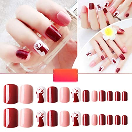 Amazon.com: 48pcs False Nail Pink Petal with Crystals Elegant Touch French Manicure False Nails with Glue Full Cover Long Length Fake Nails Art: Beauty