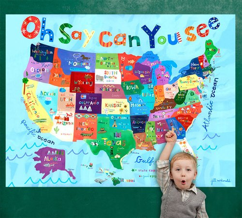 Oopsy Daisy Murals - Oopsy Daisy Murals That Stick Oh Say Can You See by Jill McDonald, 72 by 54-Inch