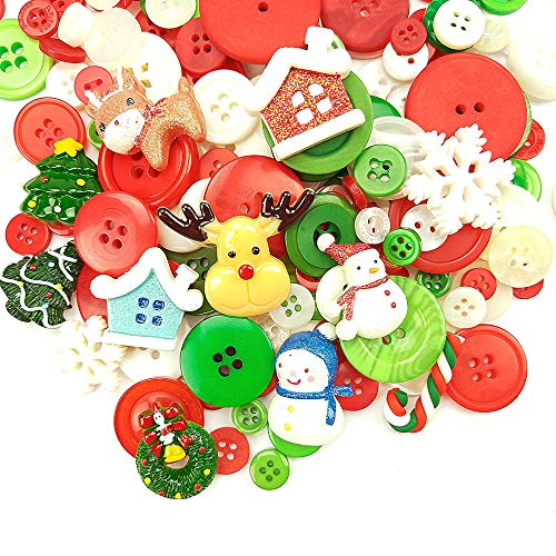 650 Pieces Christmas Buttons Sewing Craft Resin Buttons Assorted Buttons for Crafts Sewing Decorations, DIY Decoration for Christmas
