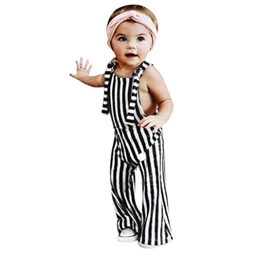 ab4aa9d3c555 Amazon.com  KONFA Teen Toddler Baby Girls Backless Striped Rompers ...