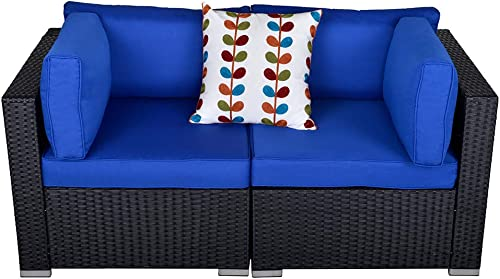 Outdoor Loveseat Patio Furniture Corner Sofa, 2 Piece Wicker Rattan Outdoor Sectional Sofa Set with Removable Royal Blue Cushions,Extra Chair for SUNVIVI OUTDOOR Furniture Black