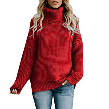 bb57e7c36958 HighlifeS Womens Casual Sweaters Turtleneck Long Sleeve Chunky Knit ...