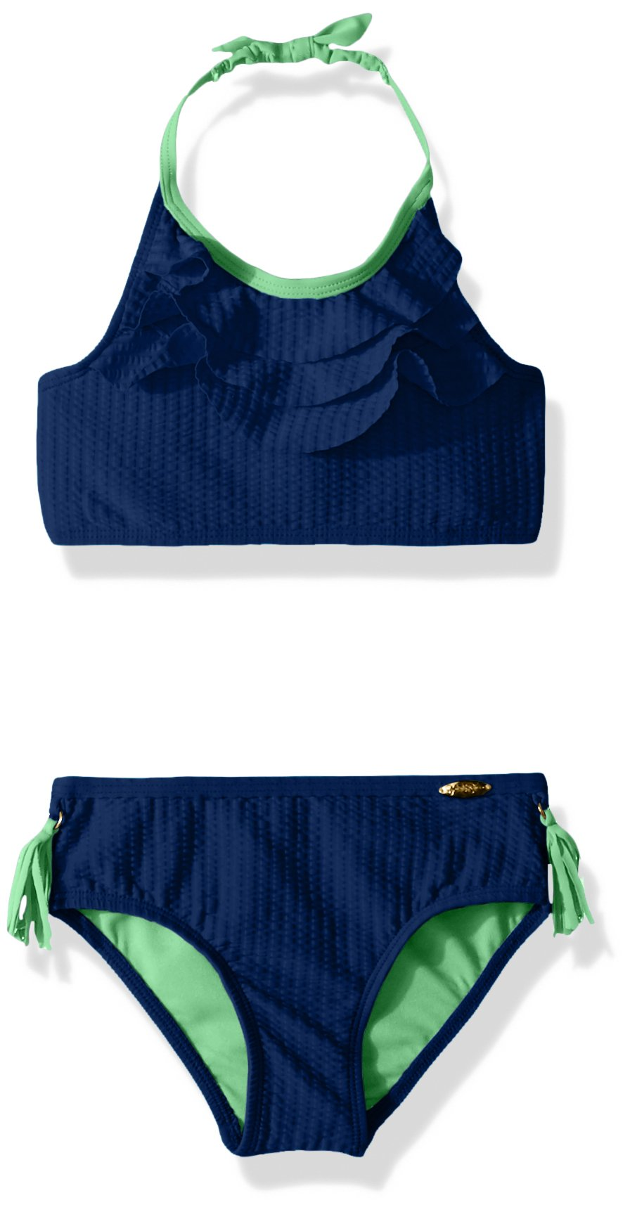 Jessica Simpson Little Girls' 2-Piece Bikini Swimsuit Set, Ruffle Front Navy, 6 by Jessica Simpson (Image #1)