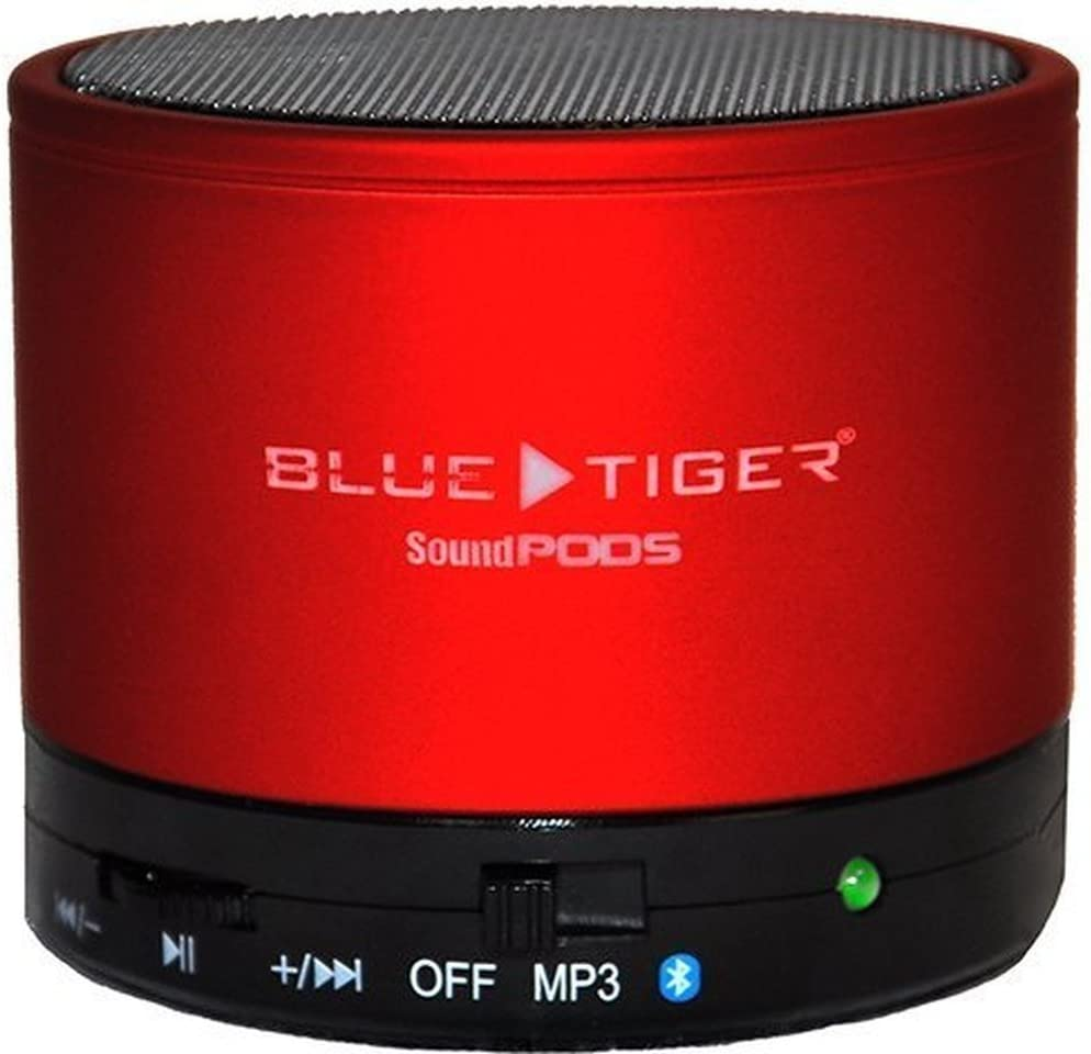 Blue Tiger 17-080588 Portable SoundPODS Bluetooth Speaker Red Rechargeable Battery Powered Speaker In Cab Speaker Compatible with All Audio Players