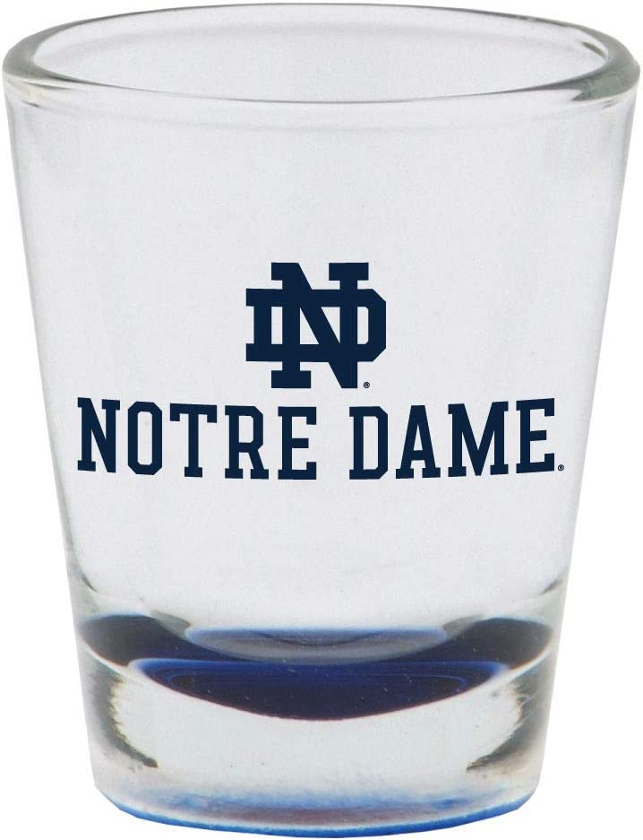 Notre Dame Fighting Irish Shot Glass with Team Logo & Colored Bottom