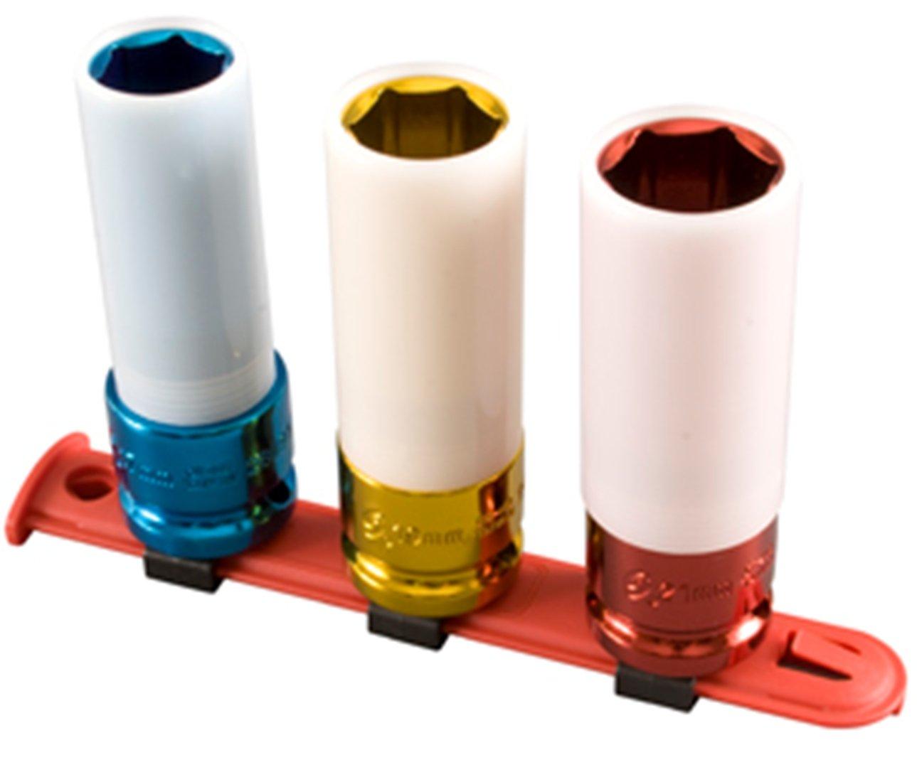 Sunex 2842 1/2' Drive Metric Extra Thin Wall Deep Wheel Protector Impact Socket Set, 3-Piece