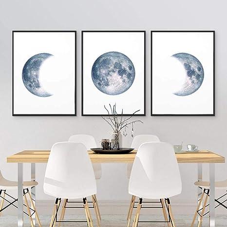 Phases De La Lune Affiche Imprimer Pleine Lune Demi Lune Mur Art Toile Peinture Nuit Ciel Espace Galaxie Astronomie Photos Mur Decor 50 70 Cm Amazon Fr Cuisine Maison