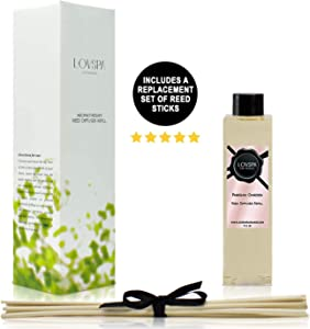 LOVSPA Parisian Garden Reed Diffuser Oil Refill with Replacement Reed Sticks - Floral Fragrance of Ylang Ylang, Tuberose, Peony, Gardenia, Rose & Magnolia, 4 oz - Made in The USA