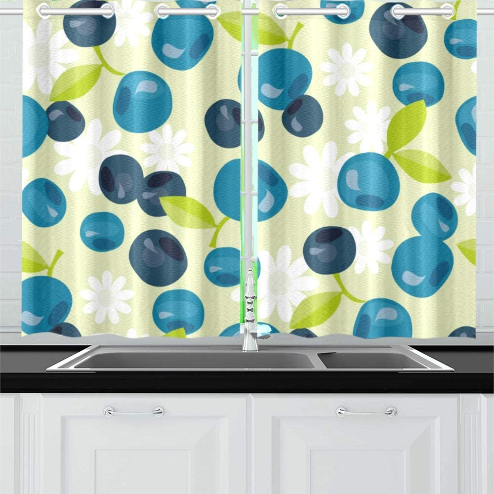 Enevotx Blueberry Fruit Sweet And Sour Summer Kitchen Curtains Window Curtain Tiers For Café Bath Laundry Living Room Bedroom 26 X 39 Inch 2 Pieces Home Kitchen
