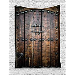 Ambesonne Rustic Decor Collection, Ancient Wooden Door Historical Vintage Exterior Medieval Structure Artistic Picture, Bedroom Living Room Dorm Wall Hanging Tapestry, Silver and Brown