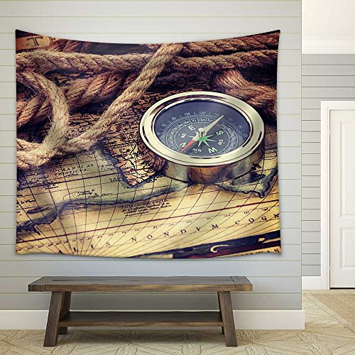 Compass and Old Map Fabric Wall