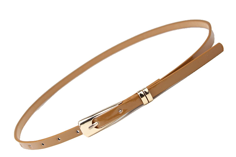 YueLian Women Skinny Thin Waist Belt Waistband Coffee