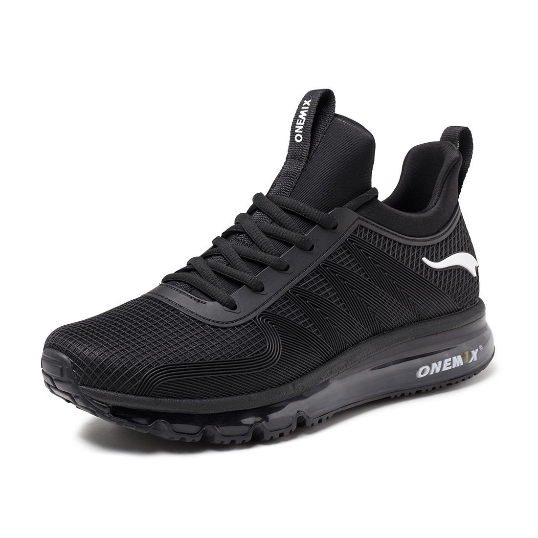 ONEMIX Men's Air Cushion Sports Running Shoes Lace-up Casual Sneaker Black 11 US QH45 by ONEMIX