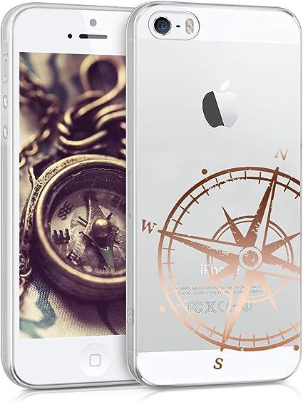 kwmobile Coque Compatible avec Apple iPhone Se (1.Gen 2016) / 5 / 5S - Housse Protectrice pour Téléphone en Silicone Boussole Or Rose-Transparent