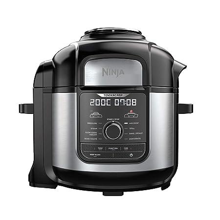 Ninja OP500EU Foodi MAX Multi-Cooker, Freidora de Aire, Olla a Presión, Negro y Plateado