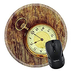 MSD Mousepad Round Mouse Pad/Mat 27188021 old clock vintage picture in wood background