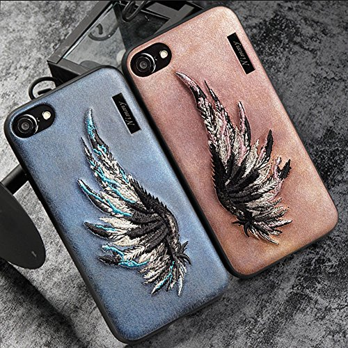 MayAi Couple Matching iPhone 7 Case Blue Wing Embroidered Gel Case, iPhone 8 Case Silicone, Leather Resistant Back Cover, Protective Flexible TPU Case for iPhone 6