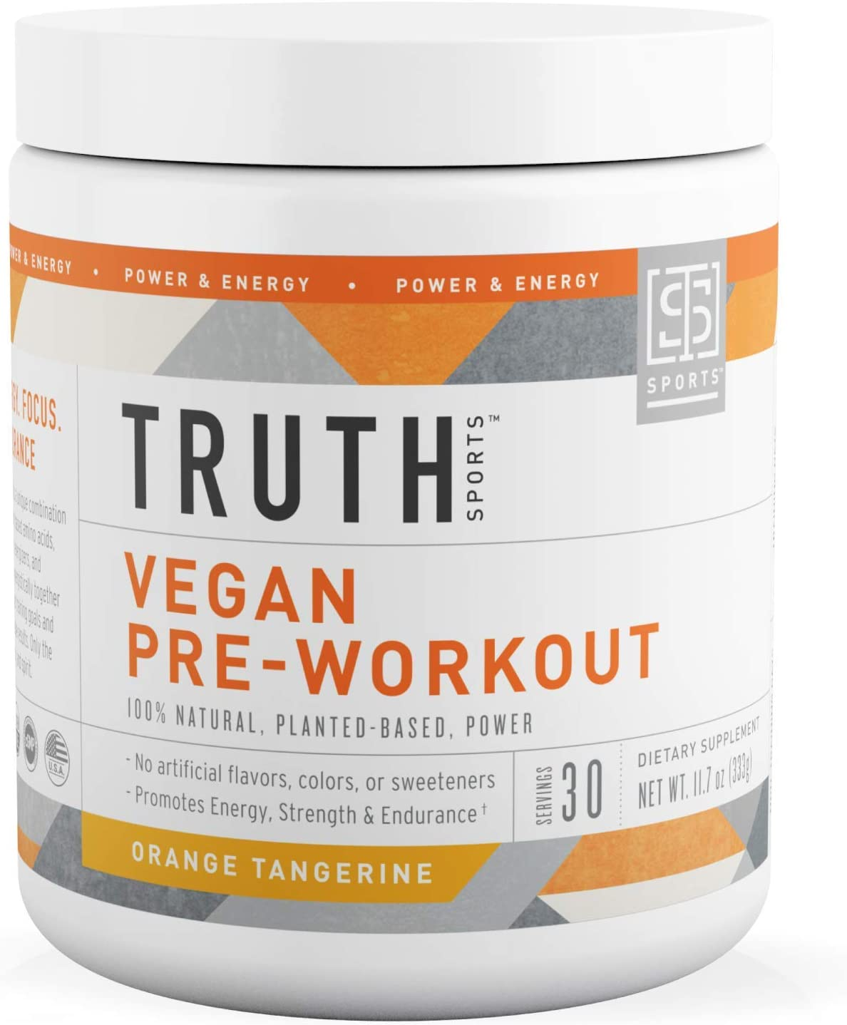 All Natural PreWorkout Powder- Plant Based, Keto Vegan Friendly Pre Workout – Energy, Focus Performance – Boost Muscle Strength Endurance- Truth Nutrition Orange Tangerine, 30 Servings