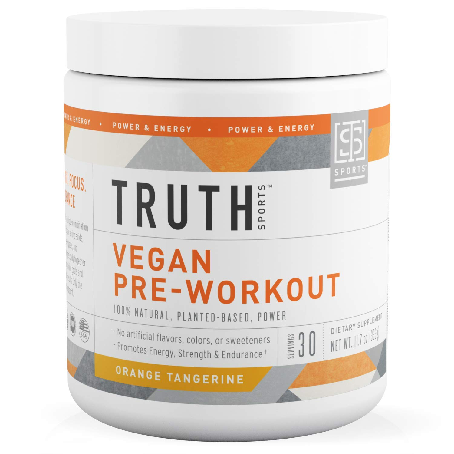 All Natural Vegan Pre Workout Powder- Plant Based, Keto & Vegan Friendly- Energy, Focus & Performance - Men & Women | Boost Muscle Strength & Endurance- Truth Nutrition (Orange Tangerine, 30 Servings) by Truth Nutrition