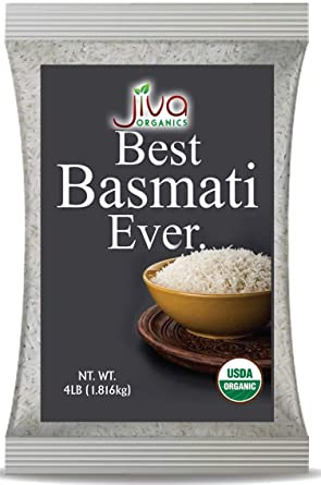 Organic Basmati Rice 4 LB Bag - Pure, Extra Long, Premium Quality from India - By Jiva Organics
