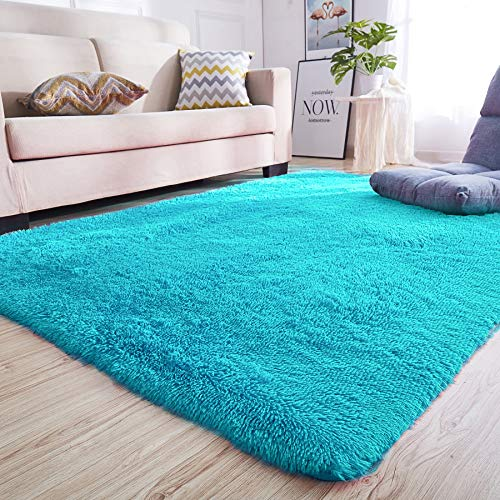 Junovo Rectangle Ultra Soft Area Rugs Fluffy Carpets for Bedroom Living Room Shaggy Floor Rug Home Decor Mats, 4 x 5.3ft, Blue