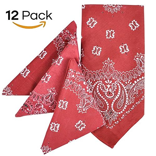 Kidsco Red Paisley Bandana – Multi-Purpose Red Bandana – Clothing, Shoes & Jewelry, Uniforms –
