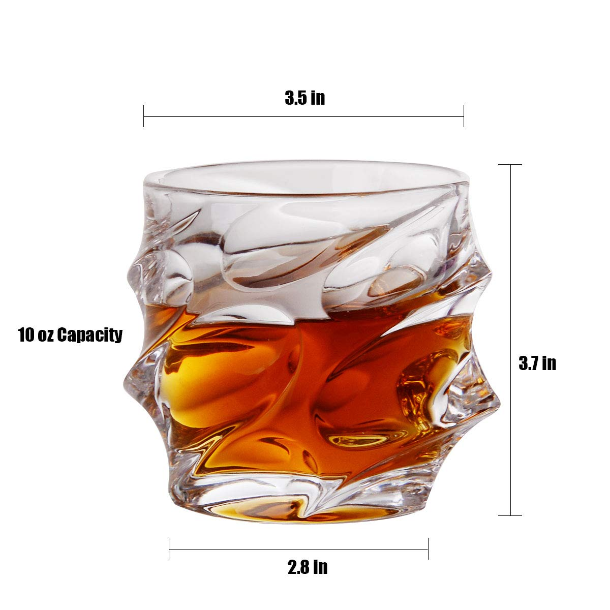 Whisky Glasses Set of 4 Drinking Glasses Shatterproof Crystal 10 Oz Glassware for Scotch, Whiskey,Tequila,Vodka,Brandy