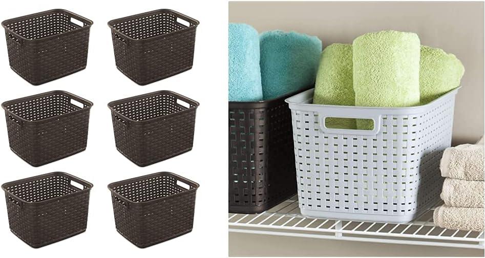 Sterilite 12736P06 Tall Weave Basket, Espresso, 6-Pack & 12736A06 Tall Weave Basket, Cement, 6-Pack
