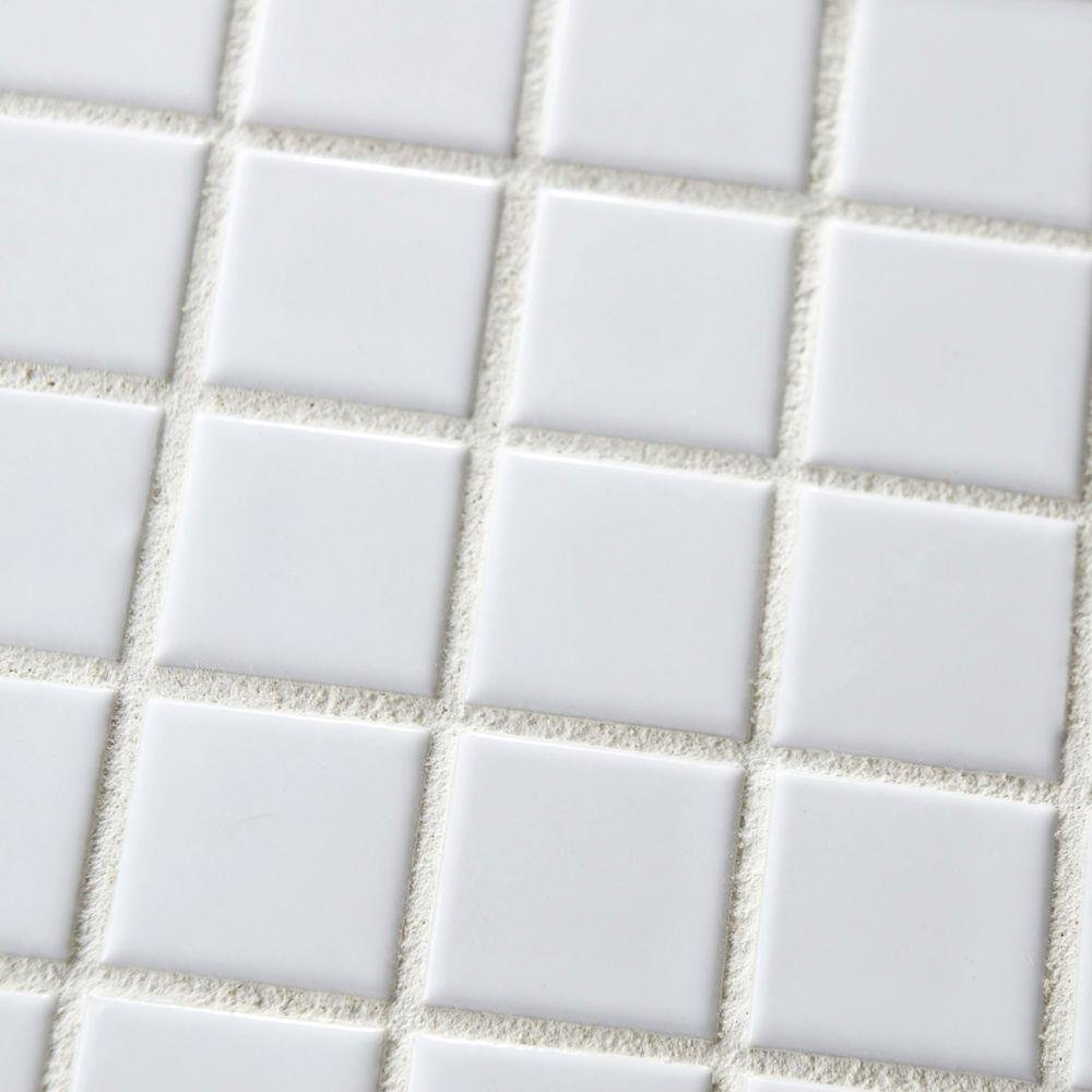 Square Tile White Porcelain Mosaic Shiny Look 1 18 X 1 18