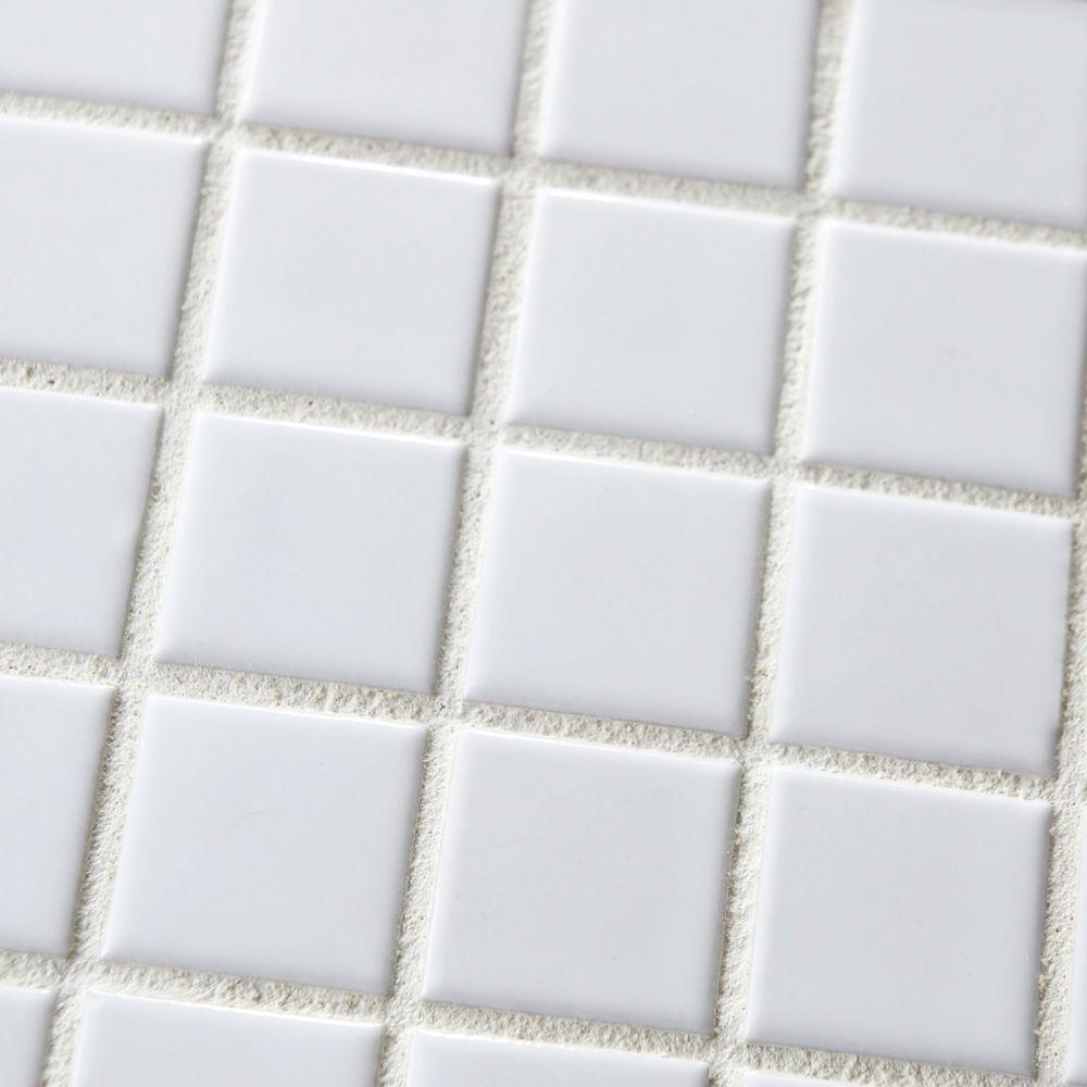 Square Tile White Porcelain Mosaic Shiny Look 1-1/8'' X 1-1/8''