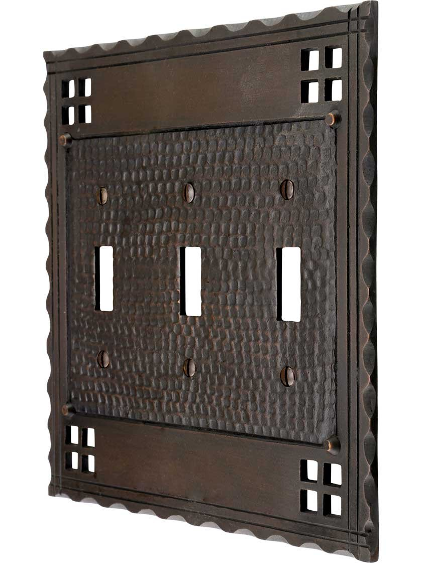 Arts and Crafts Triple Toggle Switch Plate in an Oil-Rubbed Bronze Finish by House of Antique Hardware, Inc.