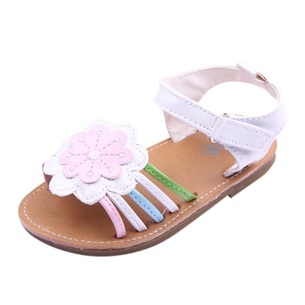 Moonker Infant Baby Girls Flower Open-Toe Beach Walking Sandals Summer Soft Tassel Anti-Slip Toddler Shoes 0-12M