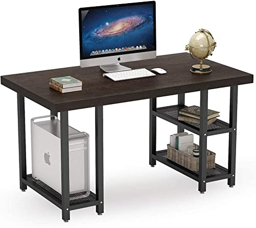 Tribesigns Solid Wood Computer Desk with Reversible Storage Shelves, 55 inch Large Industrial Office Desk Computer Workstation Study Writing Table with 27.5 inch Extra Wide Desktop for Home Office