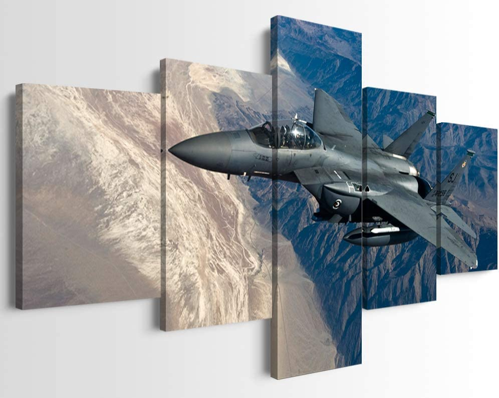 5 Piece Jet Fighter Military Aircraft Wall Art US Air Force F-15E Strike Eagle Aircraft Painting Posters Airplane Canvas Wall Decor Framed Ready to Hang for Boys Room Decor (50''W x 24''H)