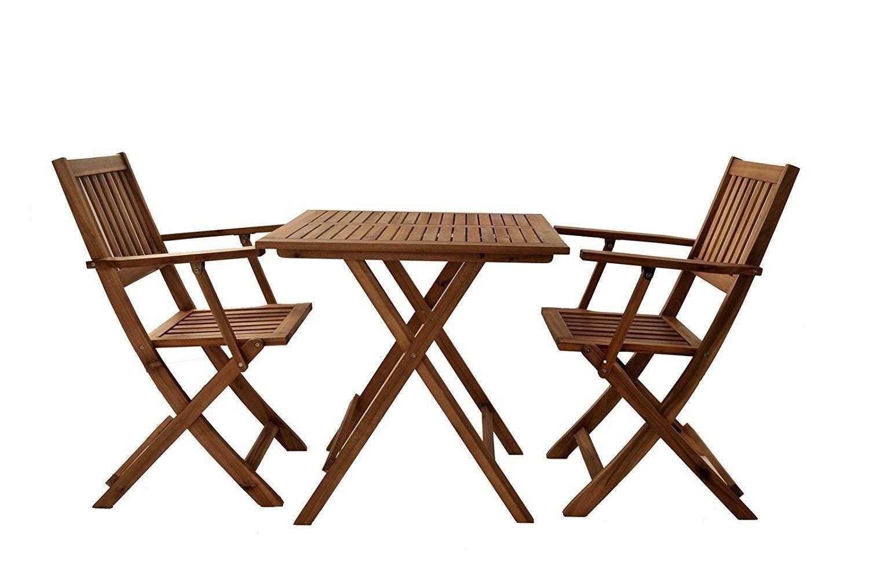SAM 3-TLG. Gartengruppe Camelia, Akazien-Holz, 1x Tisch 62x62 cm cm cm + 2X Klappsessel, Set klappbar, massives Balkonset a7b001