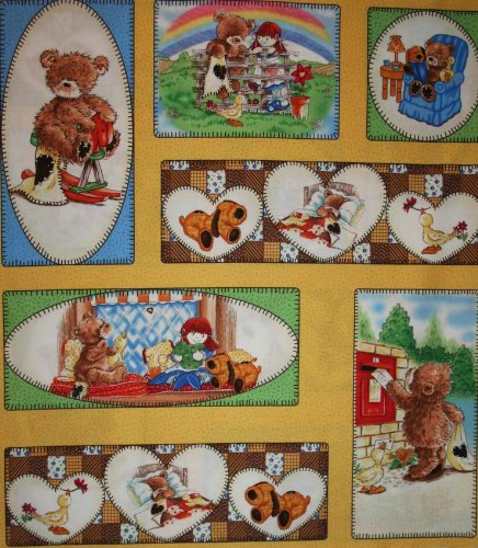 - Quilting Treasures 'Popcorn and Friends' Small Sampler Cotton Fabric Panel