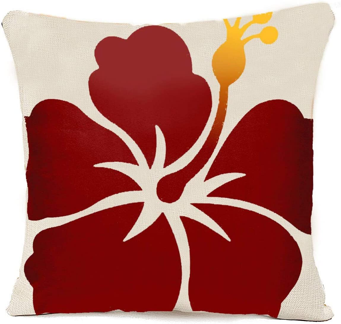 ZHONGH Floral Hawaii Hawaiian Hibiscus Flowers on Tropical Home Decor Blend Linen Throw Pillow Cover for Couch Sofa Pillows Case Cushion Covers Two Sides Printed 18x18 Inch 1 Pack