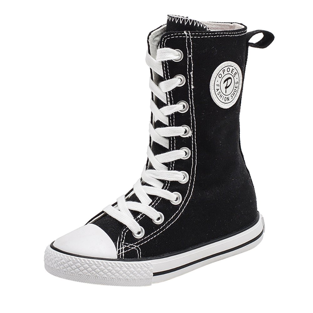 iFANS Girl Tall Punk Canvas Sneakers Lace up High Boots(Toddler/Little Kid/Big Kid)