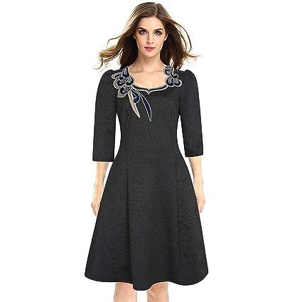 d1d7f0bf3a3df Semme Women Three Quarters Sleeves Floral Neckline Round Collar Swing Dress(Dark  Gray M): Amazon.in: Home & Kitchen