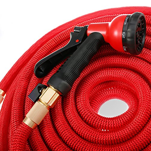 Mogobe Red Water Garden hose 100ft with Solid Brass Fittings, 8 Function Garden Hose Sprayer Nozzle, Garden Hose Holder, Free Garden Hose Storage Bag
