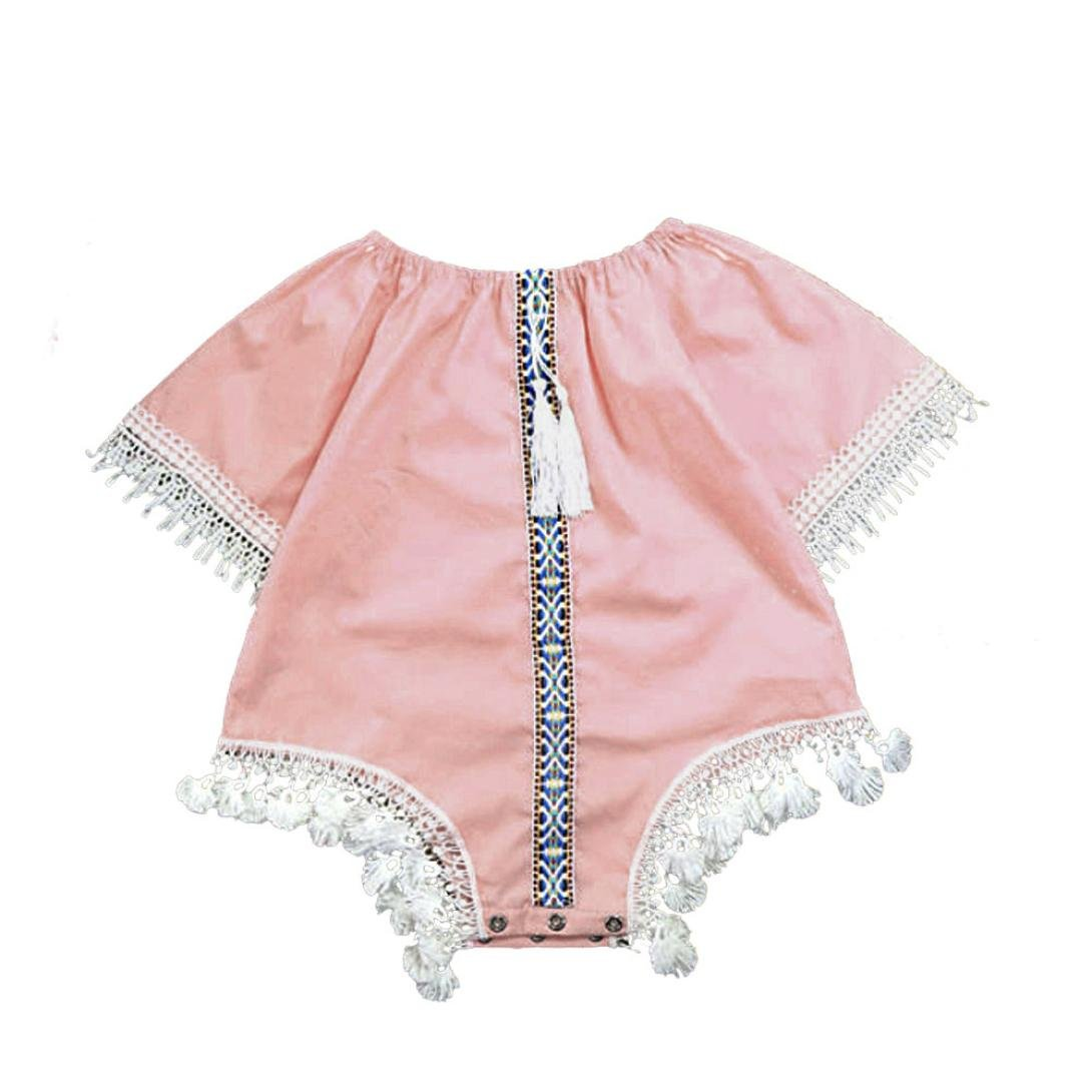 Kingko® Cute Baby Girls Summer Tassel Short Sleeves Romper Girl One-piece Clothes Kid Baby Classical Jumpsuit Clothes Outfits 0-24 Months (9-12 Months, Pink)