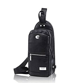 64ab37af4 Amazon.com | CCZ Sling Bag, Men PU Leather Chest Bag Outdoor Business Crossbody  Bag Shoulder Bag Daypacks with Top Handle | Casual Daypacks