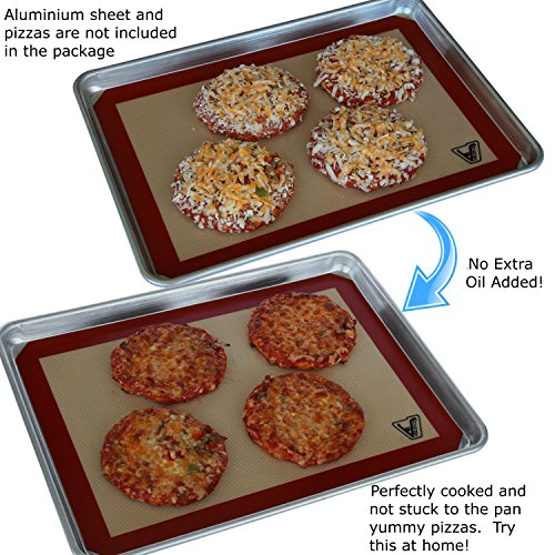 "Silicone Baking Mat - Set of 3 Half Sheet (Thick & Large 11 5/8"" x 16 1/2"") - Non Stick Silicon Liner for Bake Pans & Rolling - Macaron/Pastry/Cookie/Bun/Bread Making - Professional Grade Nonstick"