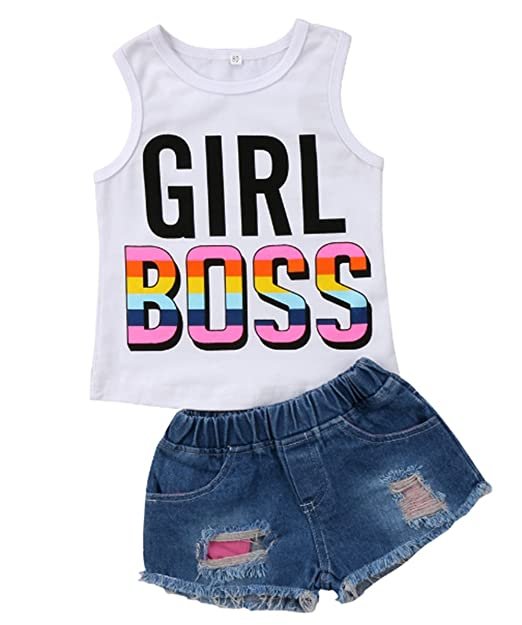 8ceb64cf8 Amazon.com: EGELEXY Toddler Baby Girls Girl Boss Letter Print Sleeveless  Tops+Denim Shorts Outfits: Clothing