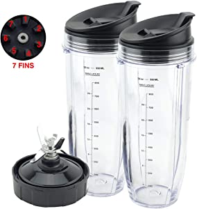 2 Pack 32 oz Cups with Sip & Seal Lids and Pro Extractor Blade Assembly Replacement Part for Ninja CT800 608KKUC815