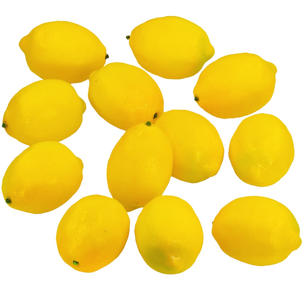 Supla 12 Pcs Artificial Lemon in Yellow 3.7'' Long x 2.56'' Wide Fake Lemon Foam lemon Fruit Decor Kitchen Table Decor
