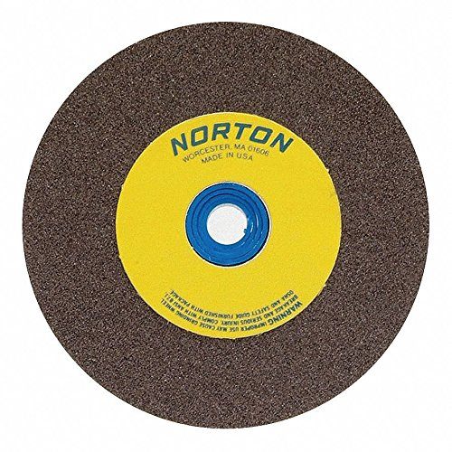 Norton 8'' Type 1 Aluminum Oxide Straight Grinding Wheel, 1'' Arbor, 1'' Thick, 60 Grit, 3600 Max. RPM