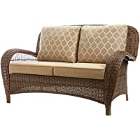 Hampton Bay Beacon Park Wicker Outdoor Loveseat with Toffee Cushions