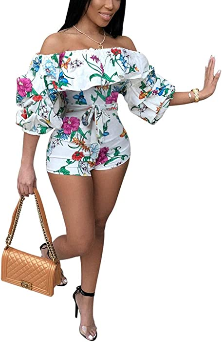 902777ff32c7 Women Rompers and Jumpsuits for Summer - Off Shoulder Ruffle Long Puff  Sleeve Floral Print Short